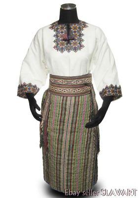 Ukrainian Hutsul folk costume ethnic wrap skirt embroidered linen dress belt old