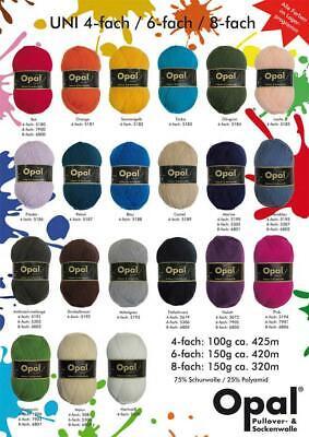 Opal Sock Yarn Uni Solid 4-ply 75% wool 25% polyamide 100g/465yd 4 Ply Wool Yarn