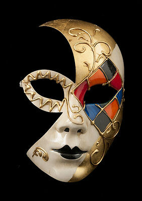 Mask from Venice Luna Mosaic Tutti Fruiti Golden 1854 V53