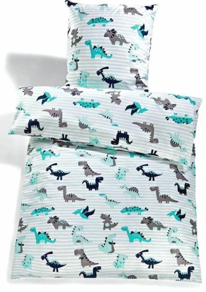 Kinder Bettwäsche - Dino Stripes Aqua Grey 135x200 cm