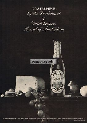 1960 AMSTEL Beer with Grapes Cheese Bread Vtg Print Ad