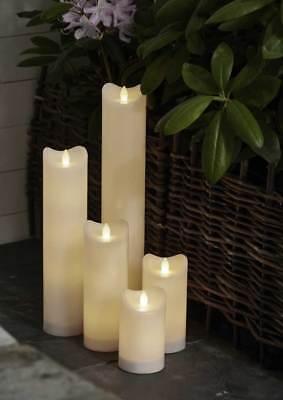 LED Kerzen Kunststoff weiß 6/18h Timer für Außen flackernd Ø7cm