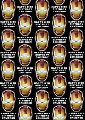 IRON-MAN Personalised Gift Wrap - Spiderman Wrapping Paper - - Iron Man Wrapping Paper