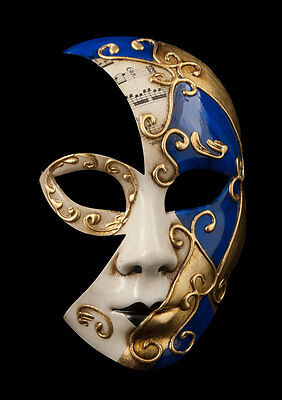 Mask Fancy Dress Venetian Luna Blue Golden -1853 V53