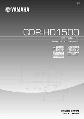 Yamaha CDR-HD1500 CD Player Owners Manual