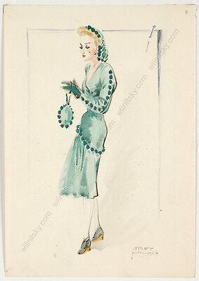 """Gret Kalous-Scheffer (1892-1975), """"Art Deco Fashion Design"""", Watercolor, 1940s"""