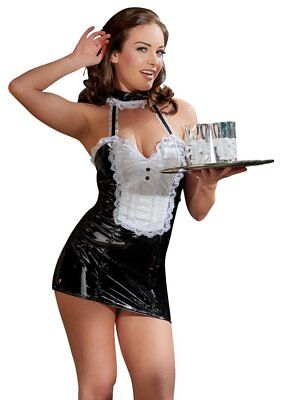 PVC FRENCH MAID Costume VINYL OUTFIT Ladies Fancy Dress S, M, L XL UK - French Maids Outfit