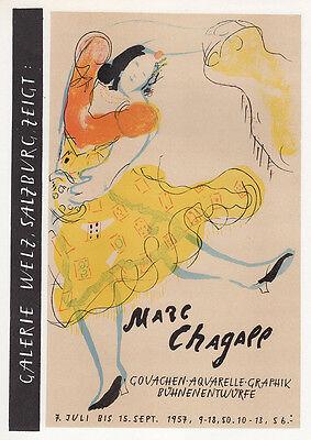 SIGNED CHAGALL Antique Galerie Welz Salzburg Exhibition Poster DANCER Framed COA
