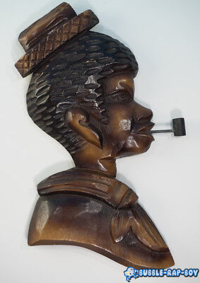 VINTAGE AFRICANA CORN PIPE FIGURE WALL HANGING