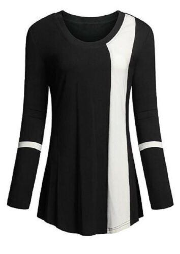 Women's Casual Long Sleeve Contrast T-Shirt Ladies Loose Bas