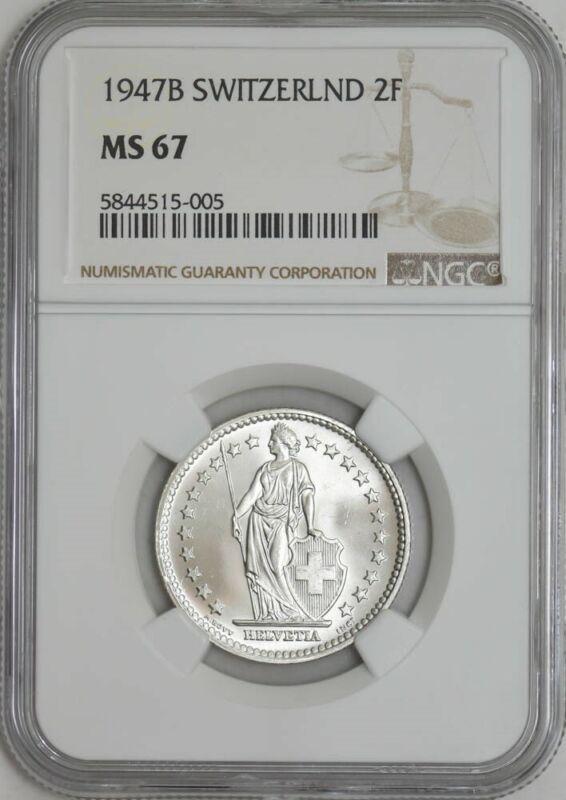 1947B Switzerland 2 Francs MS67 NGC 942947-44
