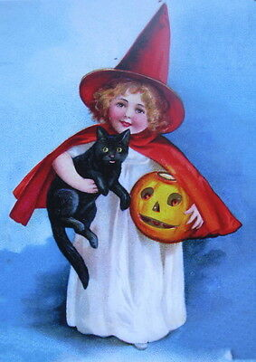HallOWEEN Little girl WITCH with Jack O Lantern and Black cat vintage art