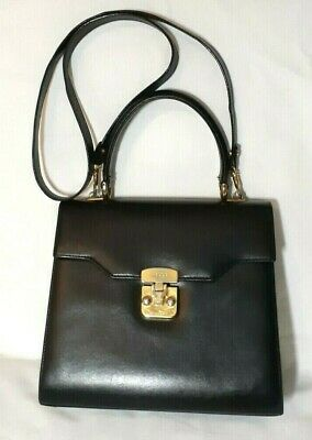 Authentic Vtg Gucci Kelly Top Handle Black Leather Cross body Hand Bag 1960'S