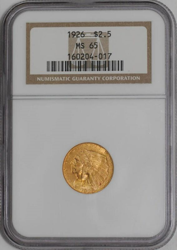 1926 $2 1/2 Gold Indian $2.5  MS65 NGC   941454-2