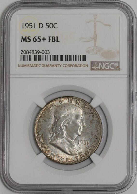 1951-D Franklin Half 50c #938972-2 MS65+ FBL NGC