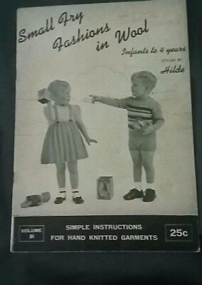 SMALL FRY FASHIONS IN WOOL styled by HILDA book vol. #81 VTG 1950's Crafts Kids