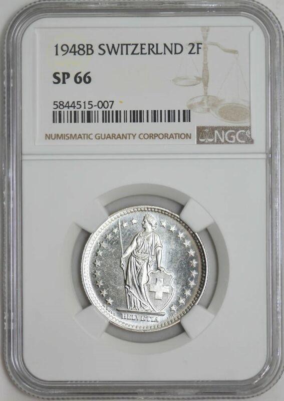 1948B Switzerland 2 Francs SP66 NGC 942947-40