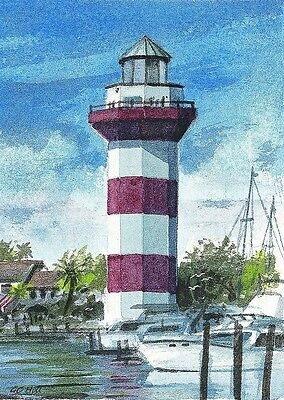 Harbour Town Lighthouse Hilton Head South Carolina Matted Watercolor Art Prints