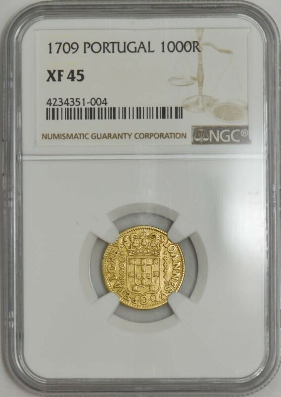1709 Portugal Gold 1000 Reis XF45 NGC 942307-3