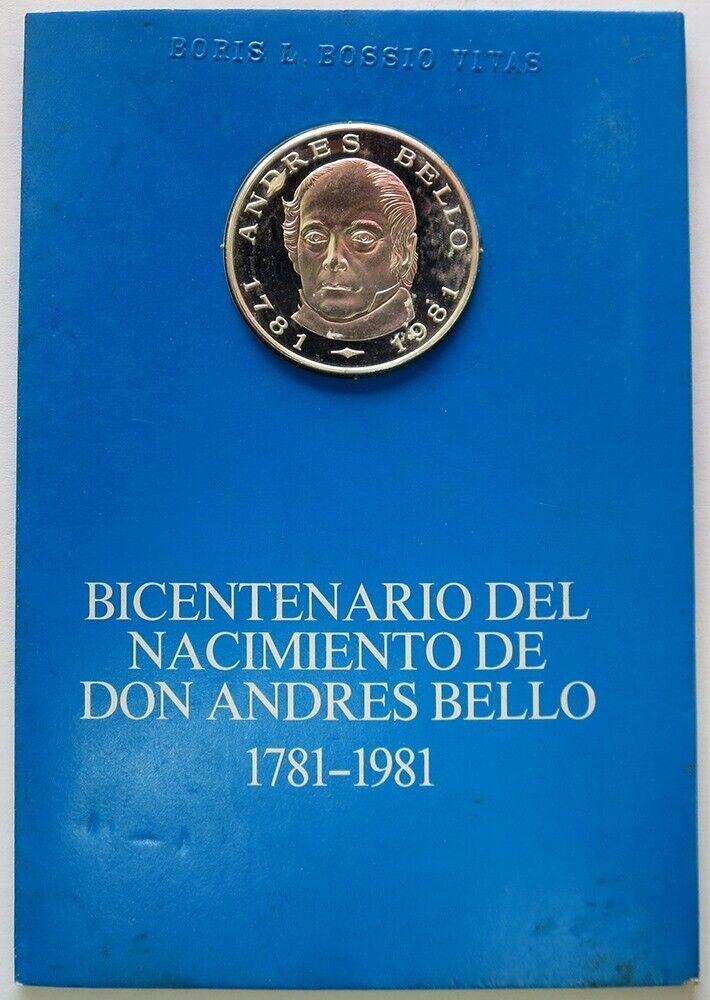 1981 SILVER VENEZUELA 100 BOLIVARES PROOF 200th ANNIV BIRTH OF ANDRES BELLO COIN