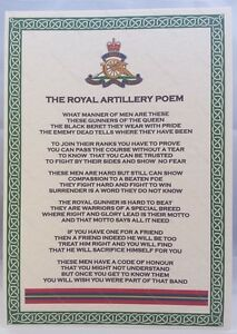 Royal Artillery Poem British Army Corps Regiment RA