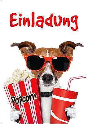 KINO-EINLADUNGEN: lustige Einladungskarten zum Kindergeburtstag im Kino 4-20 St.