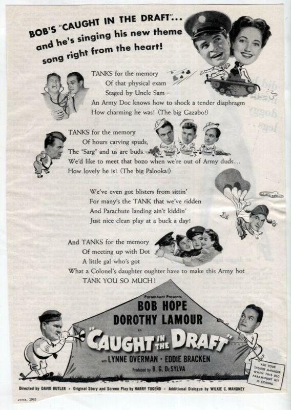 Caught in the Draft 1941 Movie Ad Bob Hope Dorothy Lamour Vtg Original Mag Ad