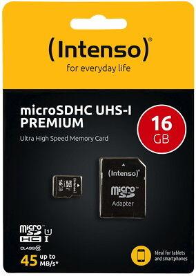 Intenso Micro SDHC Karte 16GB Speicherkarte UHS-I Premium 45 MB/s Class 10