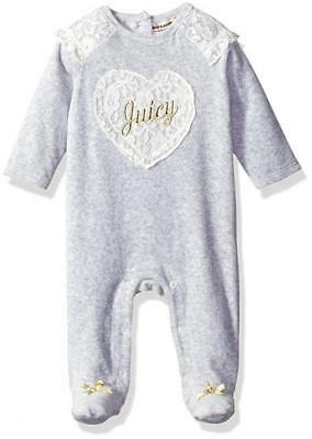 Juicy Couture Infant Girls Gray Velour Coverall Size 0/3M 3/