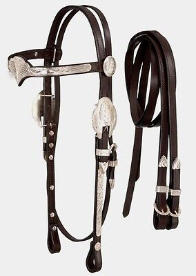 Browband Headstall Dark Oil (Silver Show Crown Browband Headstall - Bridle and Reins - Dark Oil Leather  )
