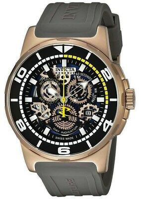 Swiss Made Invicta 18953 Sea Vulture Chronograph Black Skeleton Dial Men's Watch - Vulture Skeleton