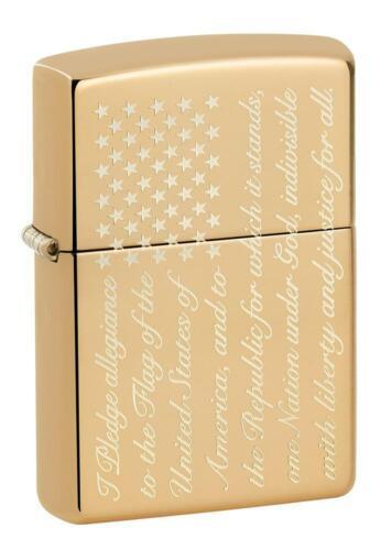Zippo Windproof Pledge of Allegiance Flag Lighter, Patriotic, 49585, New In Box
