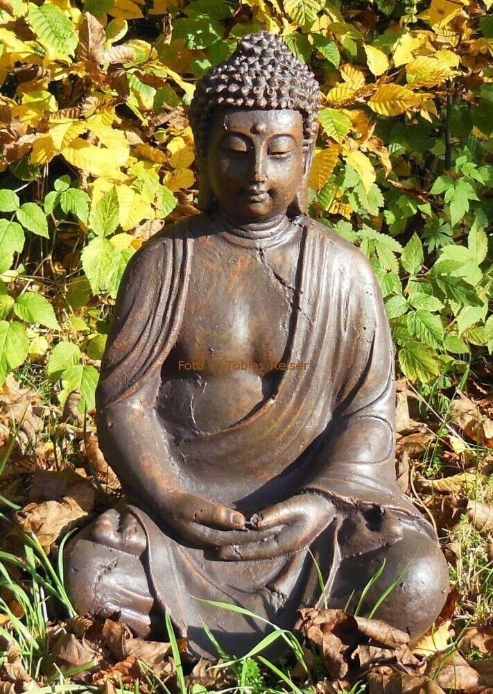 XL BUDDHA Figur 40cm groß Skulptur Dekofigur sitzend Gartenfigur Garten
