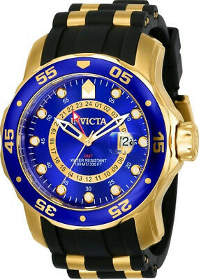 Invicta Pro Dirver 6993 Mens Round Analog Date Gold Tone Blue Watch