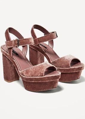 24536fb031c ZARA Dusky Pink High Heel VELVET Platform Sandals Shoes 6 39 BNWT 2640 201
