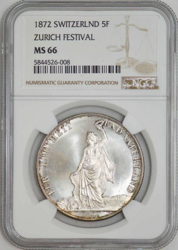 1872 Switzerland 5 Francs Zurich Festival MS66 NGC 942947-49