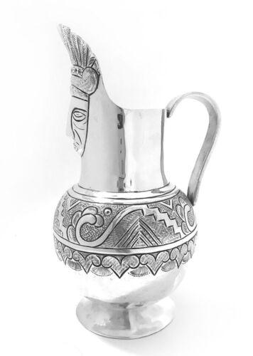 Handmade Primitive Mexican Anthropomorphic 900 Silver Jug
