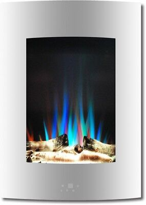 Vertical Electric Fireplace White 19.5 in. Multi Color Flame