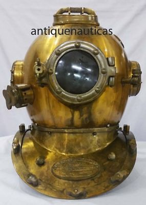 Nautical Anchor Engineering Deep Sea Divers Helmet U.S. Navy Diving Helm 42cm ht