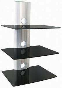 multimedia rack dvd receiver wand regal silber 3. Black Bedroom Furniture Sets. Home Design Ideas