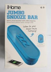Ihome Im14lc Jumbo Snooze Bar Alarm Clock With Usb Charging [blue]