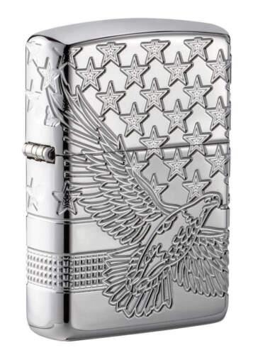Zippo Armor Lighter With Eagle & Flag Design, 4 Sides Engraved, 49027 New In Box