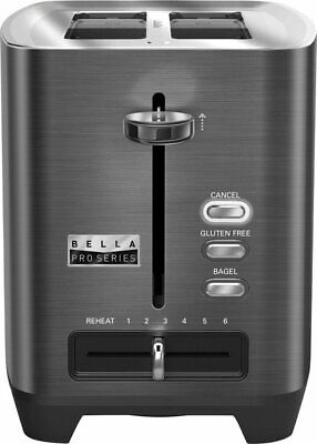 Toaster 2 Slice Auto Shutoff Black Stainless Steel Pro Series 2 Extra Wide Slot