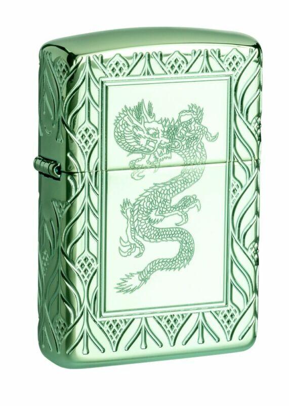 Zippo Armor High Polish Green Elegant Dragon Windproof Pocket Lighter, 49054