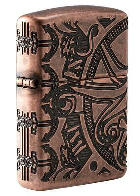 Zippo Armor Windproof Deep Carved Nautical Designed Lighter 49000, New In Box
