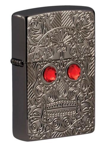 Zippo Armor Engraved Skull Lighter, Crystal Eyes, Day of Dead, 49300 New In Box