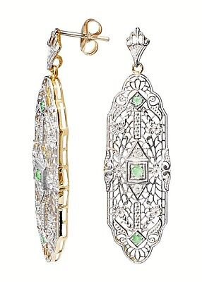 Exklusive Ohrringe im Stile des Art Deco Sterlingsilber vergoldet  Diamanten Sma