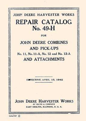 Fits John Deere Combine Cutter 11 A 12 11a 12a Parts Manual