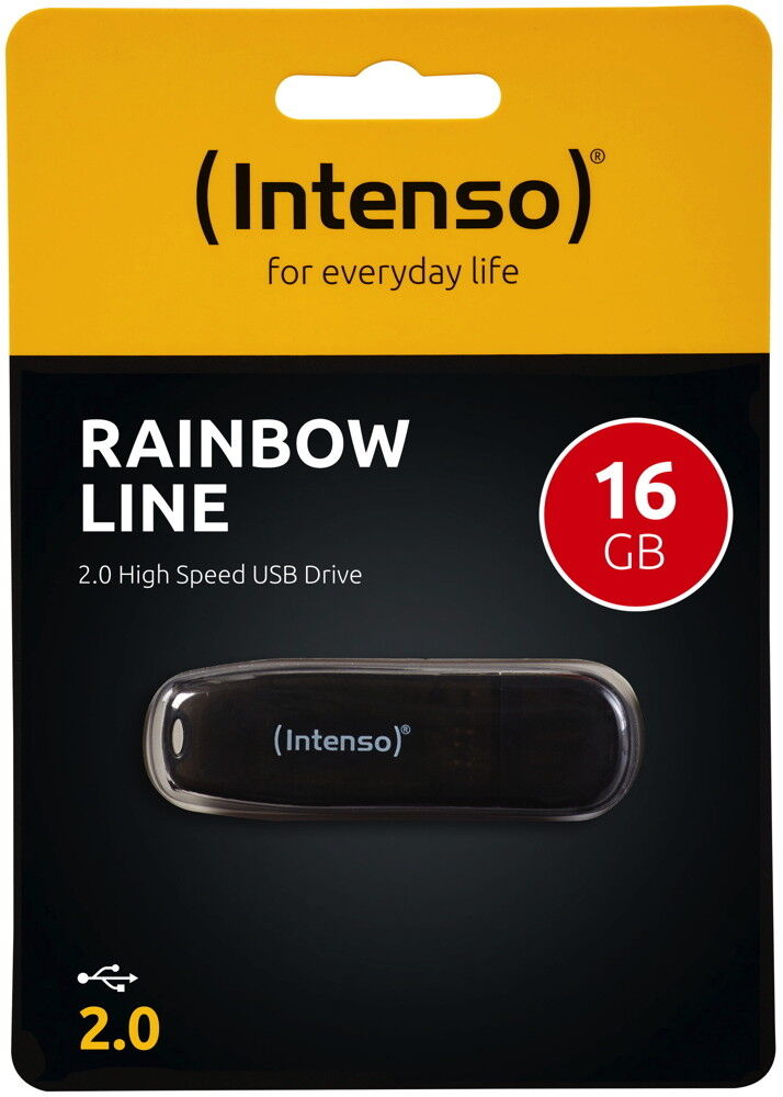 Intenso USB Stick 16GB Speicherstick Rainbow Line schwarz