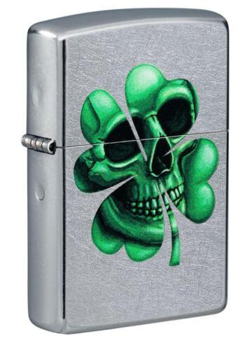 Zippo Windproof Clover Lighter, Lucky Shamrock Skull Design, 49260, New In Box
